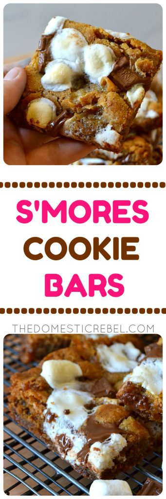 S'mores Cookie Bars photo collage with text