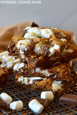 smores cookie bars on wire rack