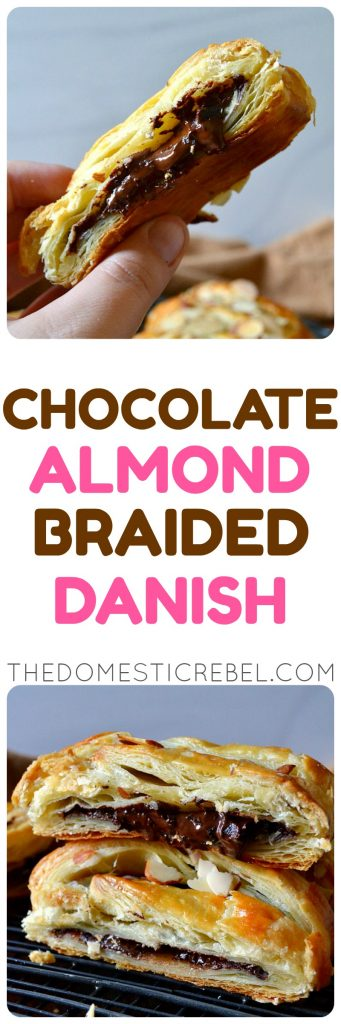chocolate almond braided danish photo collage