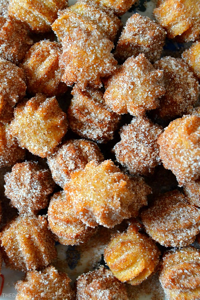 Super close-up of churro bites
