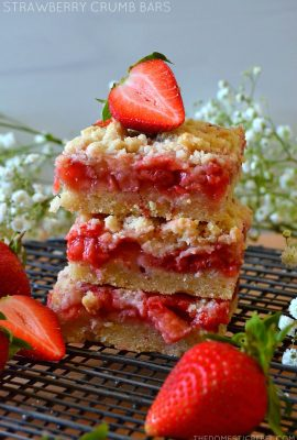 trio stack of strawberry crumble bars