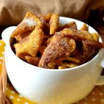 Churro Bugle Snack Mix in white bowl