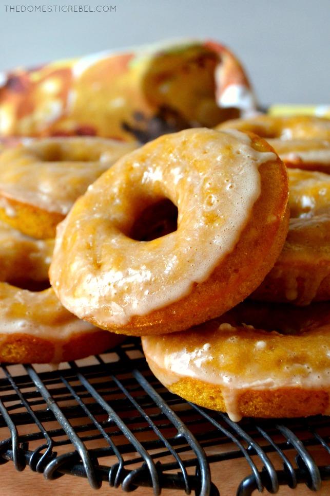 close up arrangement of pumpkin donuts