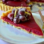 Slice of Cranberry Lemon Tart on a pink plate
