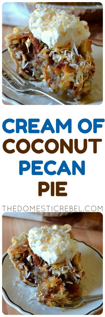 Cream of Coconut Pecan Pie photo collage