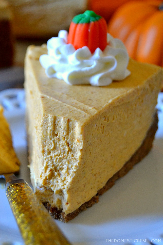 Closeup of a slice of pumpkin no-bake cheesecake with bite missing