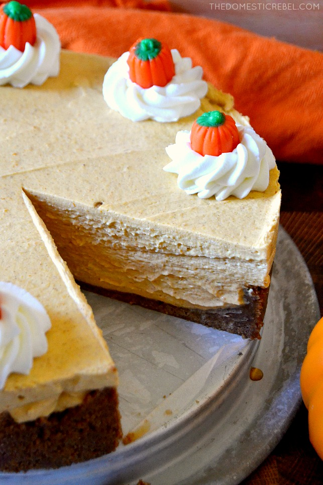 No-Bake Pumpkin Cheesecake with a slice missing