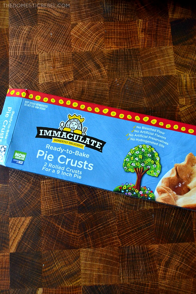Photo of Immaculate Baking Pie Crusts package on wood background