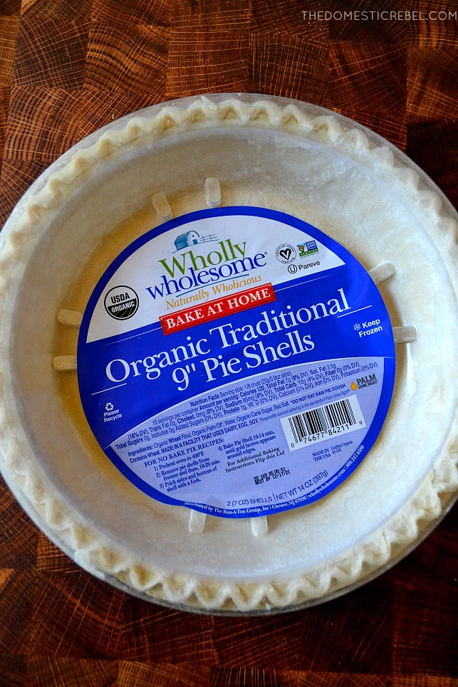 Wholly Wholesome pie crusts on a wood background
