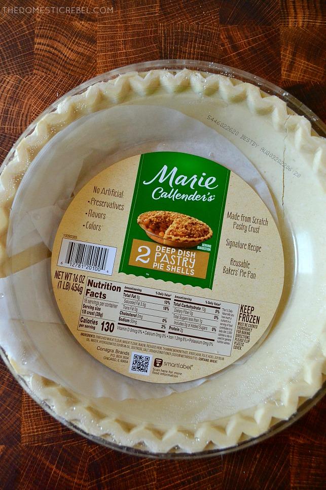 Marie Callenders pie crusts on wood background