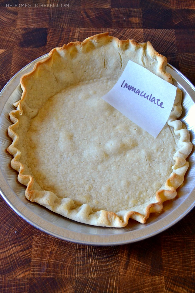 """Photo of a pie crust in a pie tin """"immaculate baking"""""""