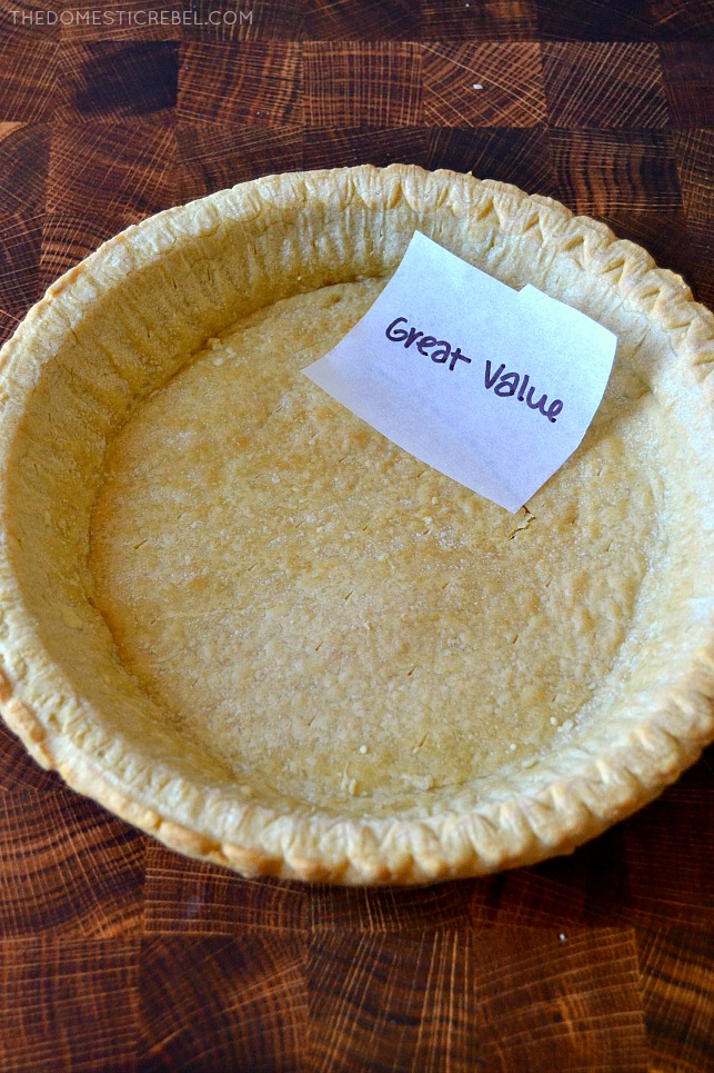 Great Value pie crust in pan on wood background