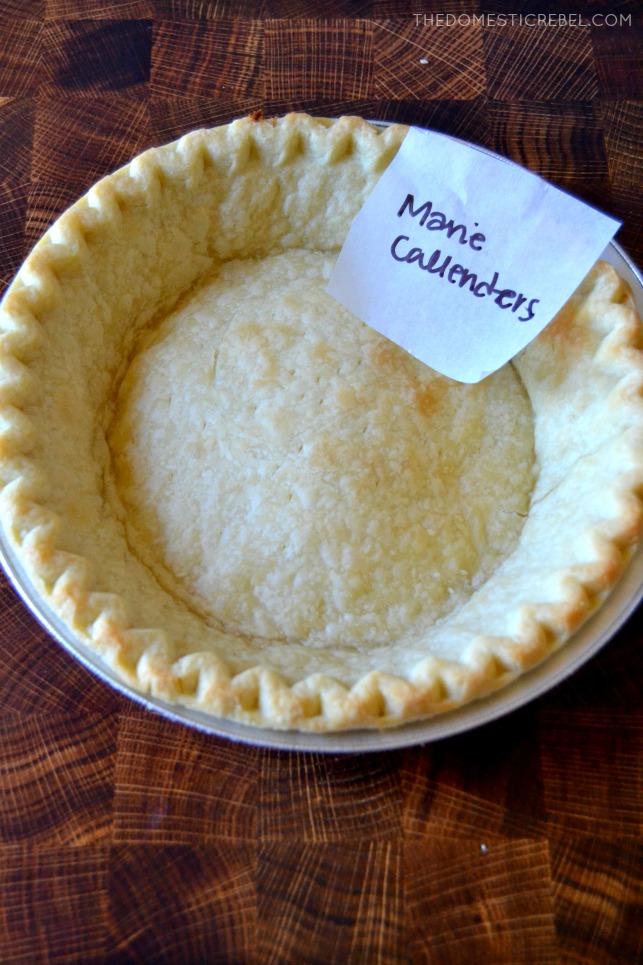 Marie Callender's pie crust in pan on wood background