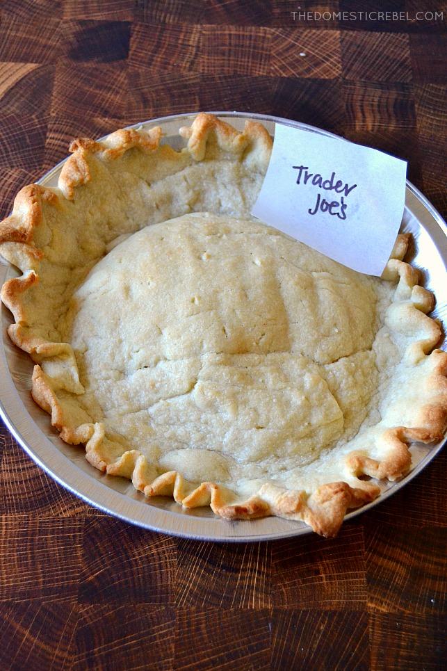 Trader Joe's pie crust in pan on wood background