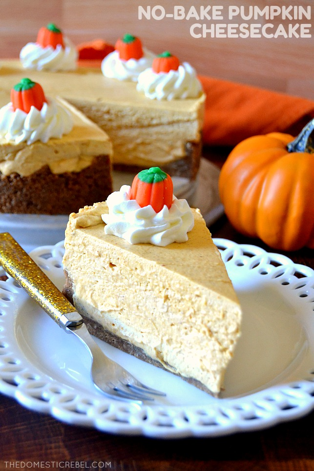 Slice of No-Bake Pumpkin Cheesecake on a white plate with a gold fork and a pumpkin