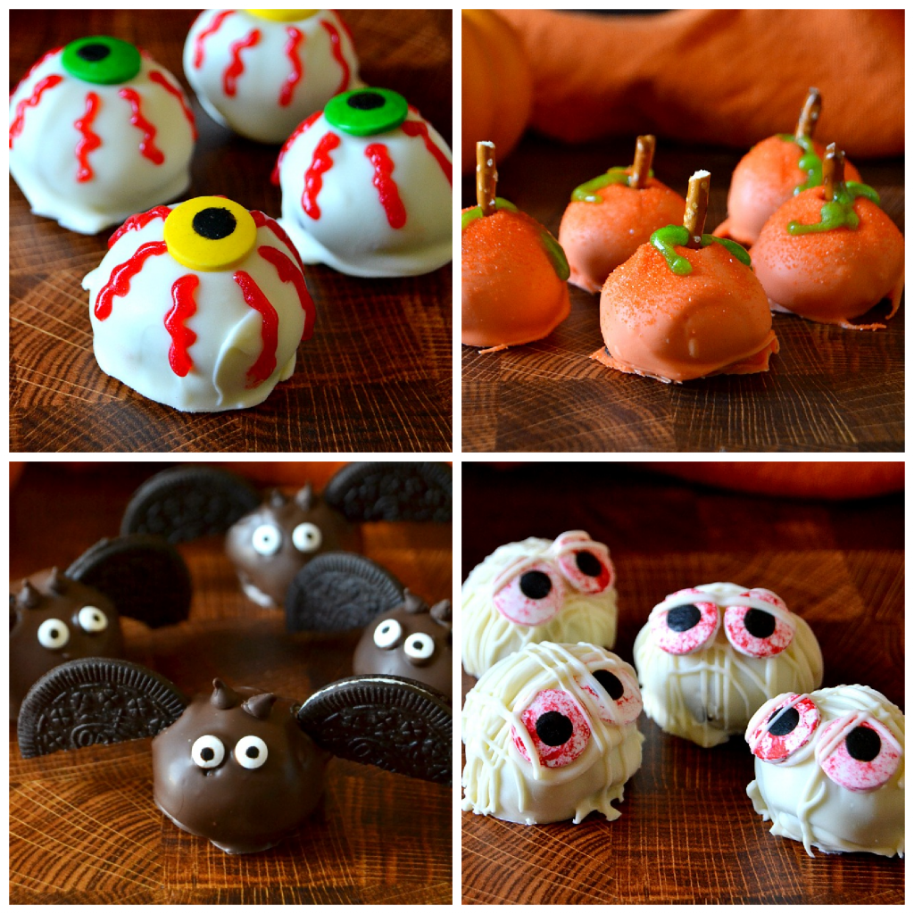 Collage of four different Halloween themed Oreo balls
