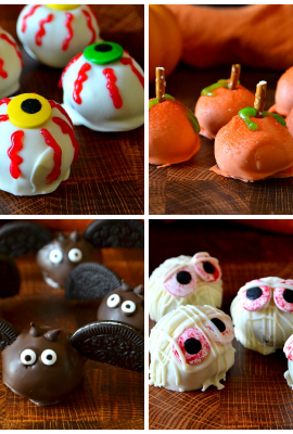 Collage of Halloween themed Oreo balls