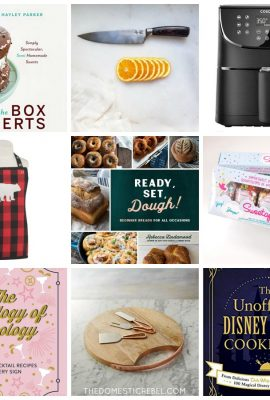 gift guide collage with cookbooks and kitchen gadgets