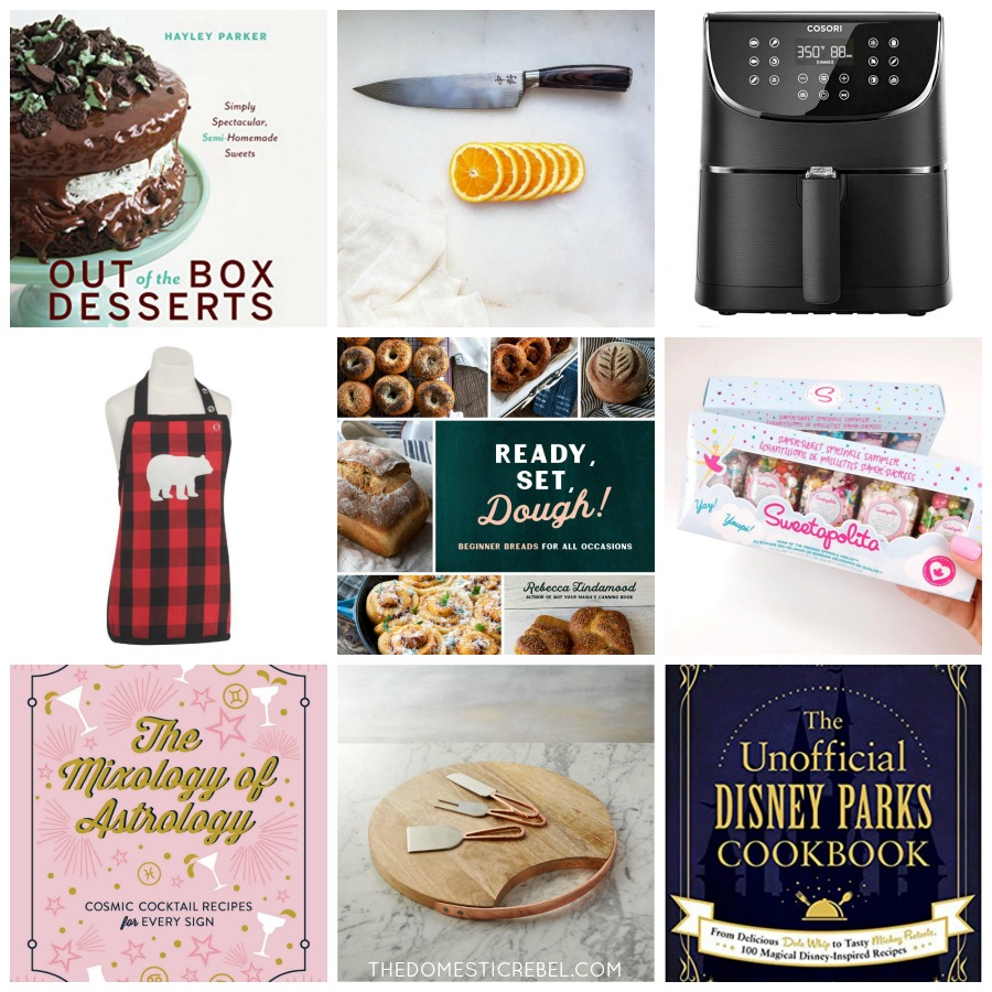 collage featuring cookbooks and kitchen gadgets for a gift guide
