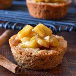 apple crisp cookie cups on wooden board