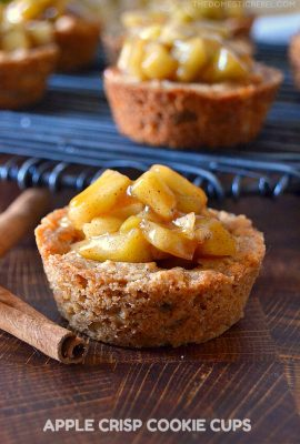 apple crisp cookie cups on wooden board