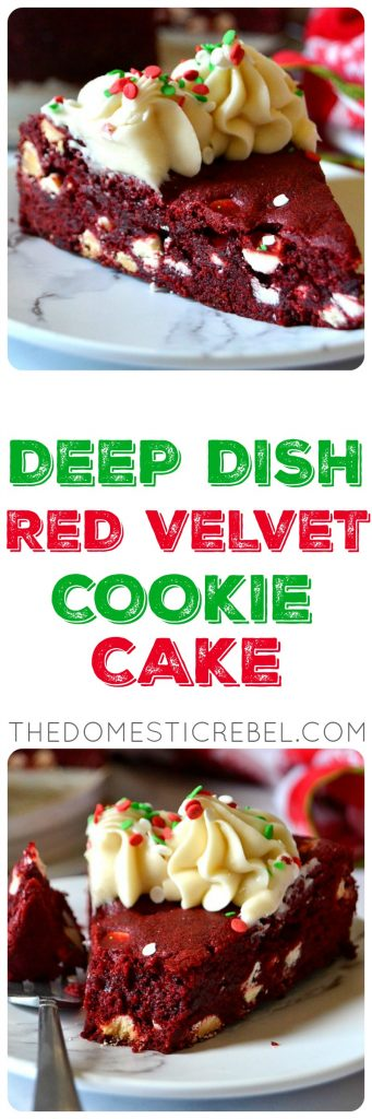 Deep Dish Red Velvet Cookie Cake photo collage