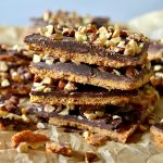 small stack of graham cracker almond roca toffee