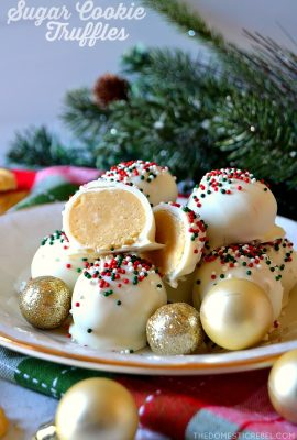 sugar cookie truffles on a white plate