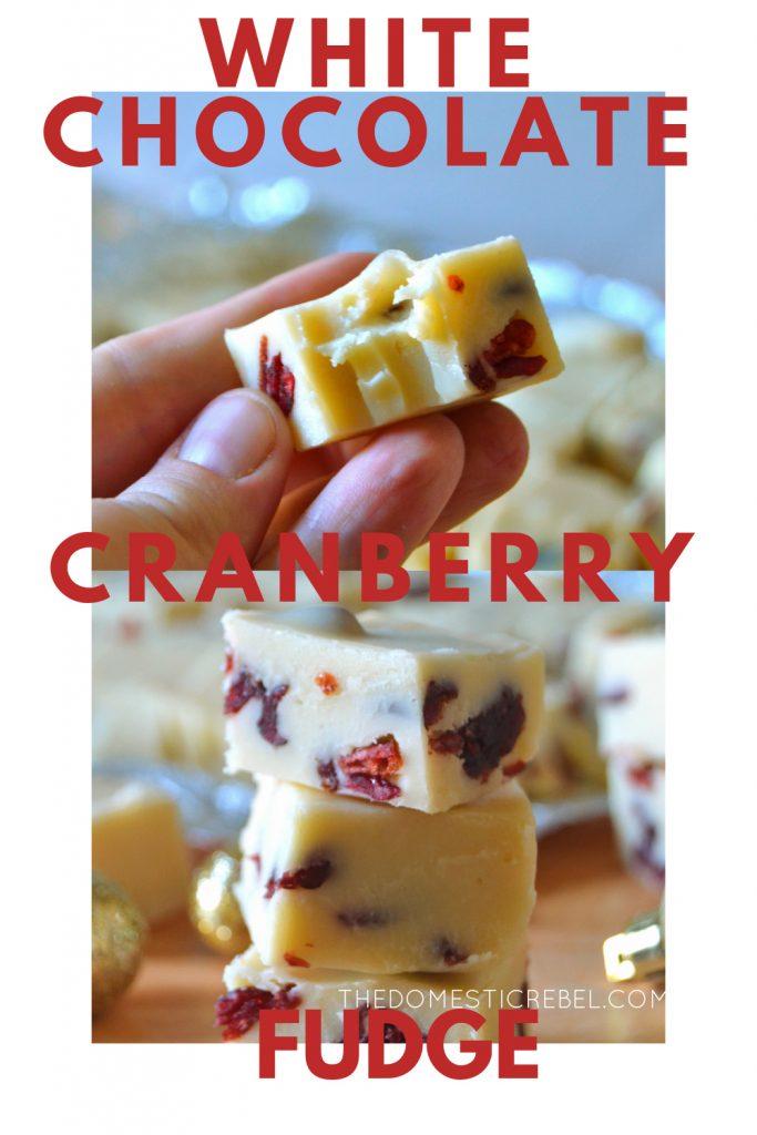 White chocolate cranberry fudge photo collage