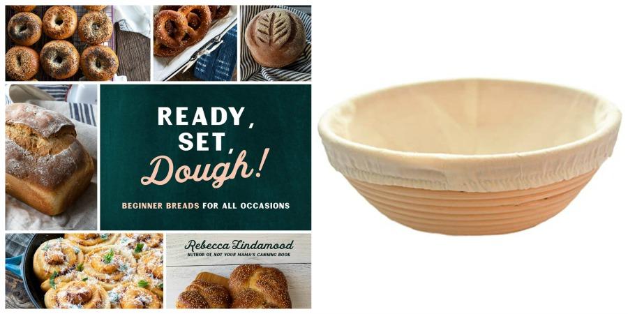 dough cookbook and bread banneton collage