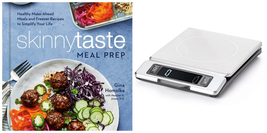 meal prep cookbook and digital cooking scale collage