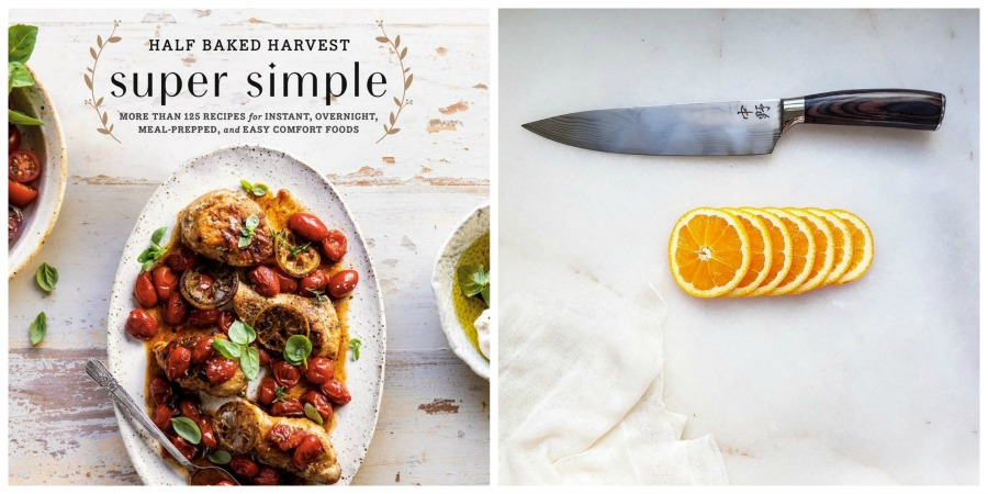 super simple cookbook and knife collage