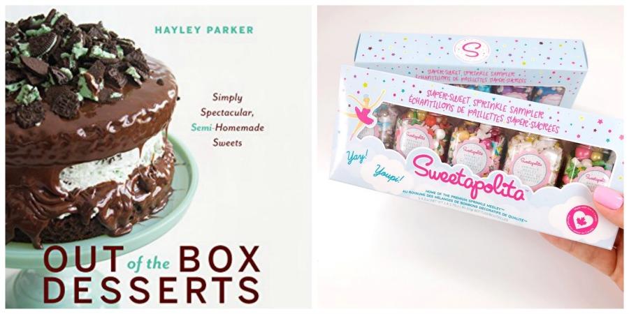 dessert cookbook and sprinkle gift set collage