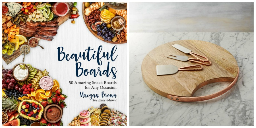 charcuterie board cookbook and cheese board set collage