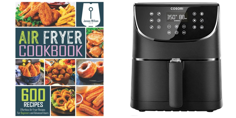 air fryer cookbook and air fryer appliance collage
