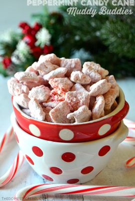 peppermint candy cane muddy buddies in a red dot bowl