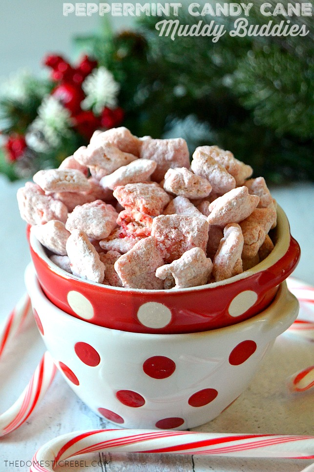 Red and white polka dot bowls filled with peppermint candy cane muddy buddies
