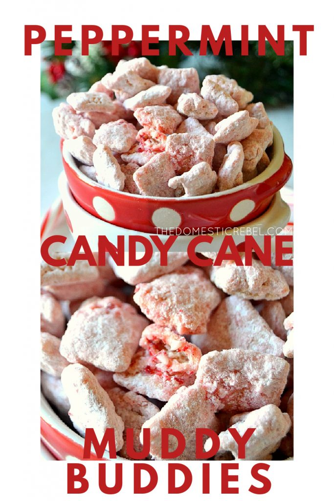 Peppermint Candy Cane Muddy Buddies photo collage