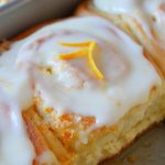 orange sweet roll in the pan