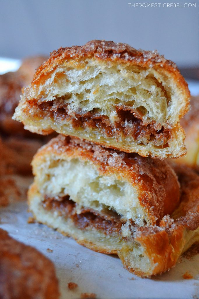 a two-tall stack of churro croissants