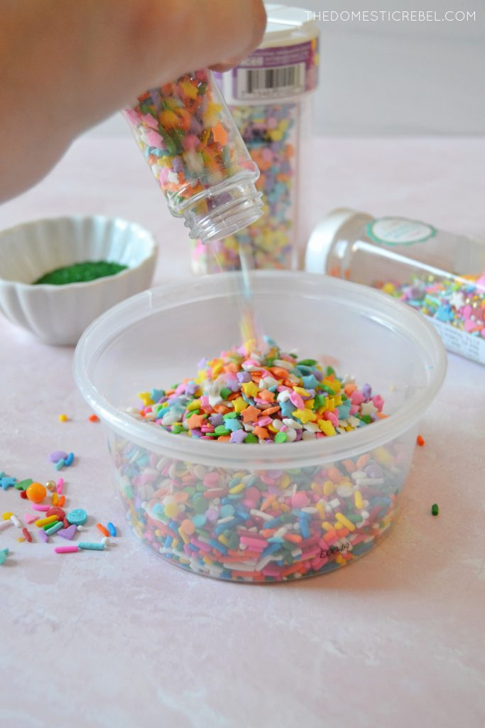 author pouring sprinkles into a bowl