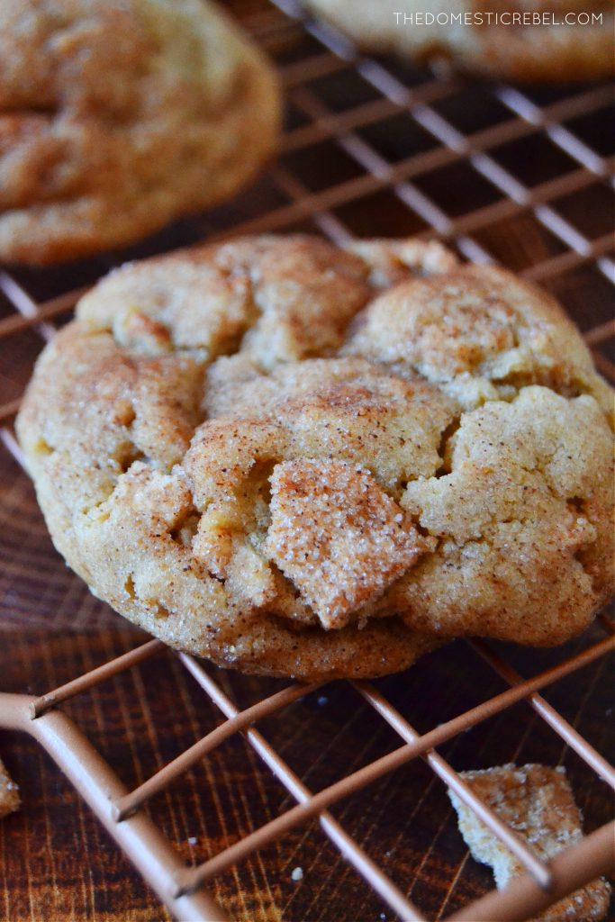 Closeup of cinnamon toast crunch cookie on wire rack