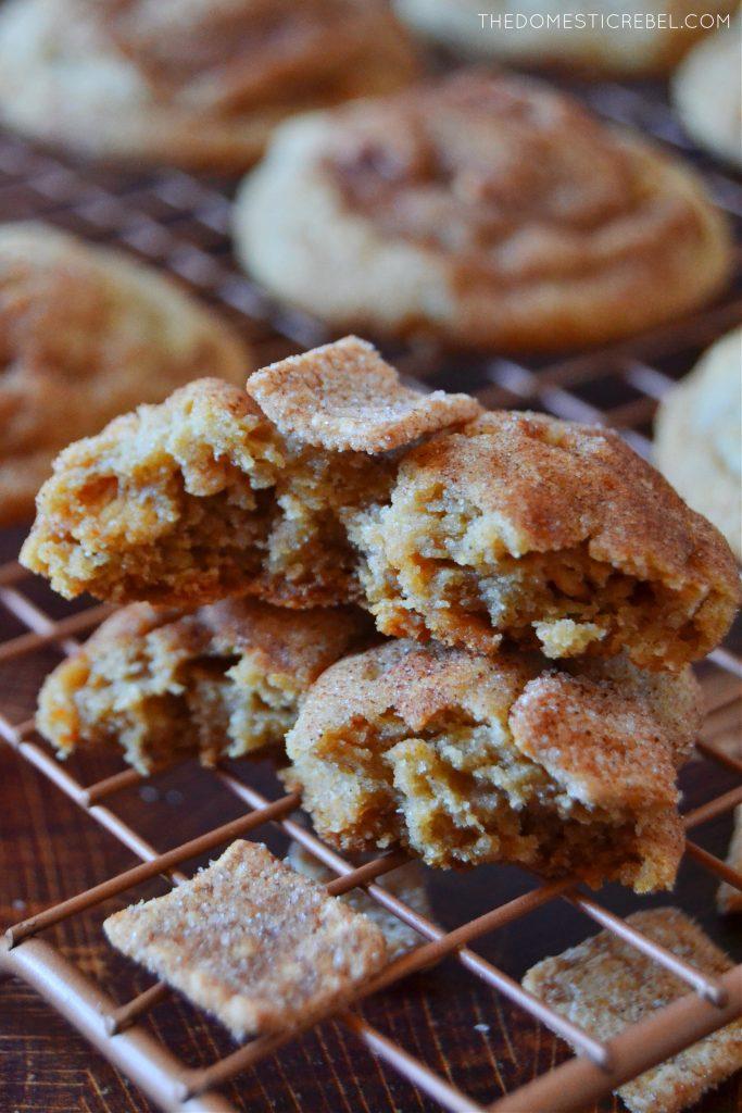 Cinnamon toast crunch cookies split open in a stack