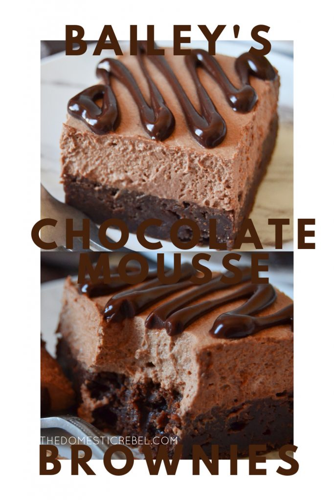 bailey's chocolate mousse brownies photo collage