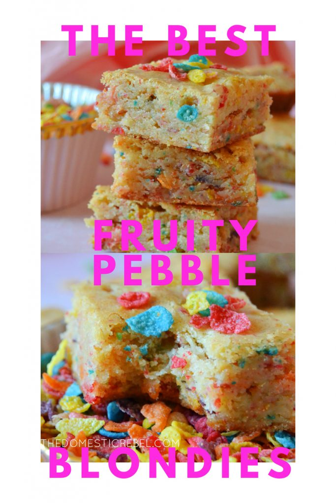 Best Fruity Pebbles Blondies photo collage