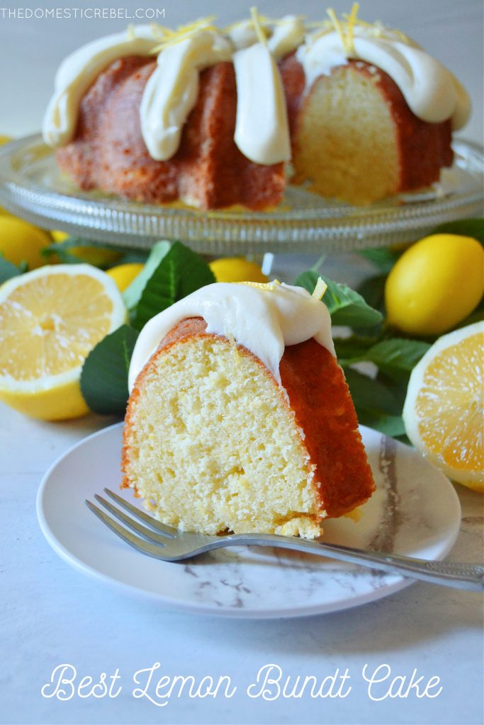lemon bundt cake on white plate with lemons in background