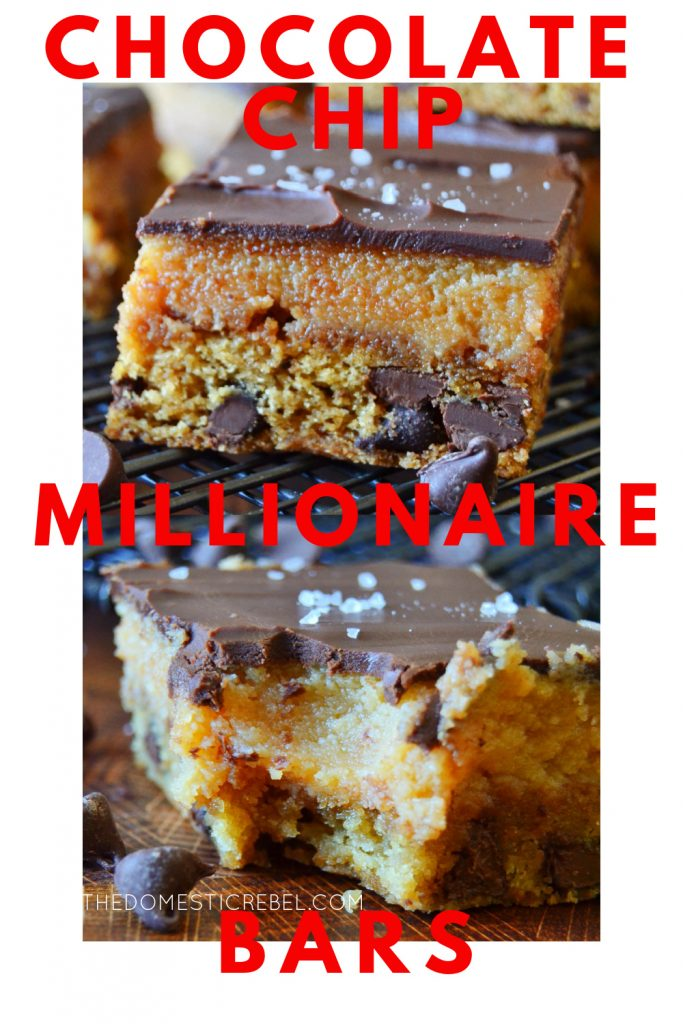 chocolate chip cookie millionaire bars photo collage