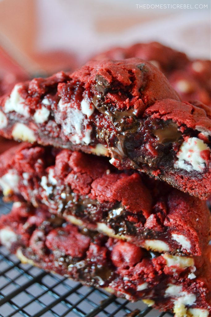 a trio stack of red velvet cookies