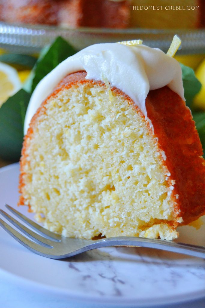closeup slice of lemon bundt cake