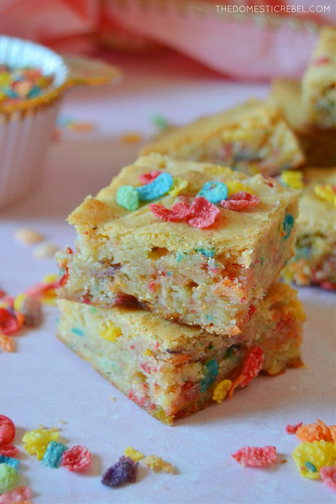 Two high stack of fruity pebbles blondies